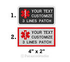 Custom Embroidered Medical Alert Symbol Service Dog Sew on Patch 4 X 2 SD P14