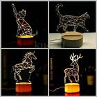 3D Animal Shape Night Light 3 Color Changeable LED Table Lamp Decor Kids Gift