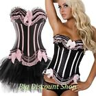 Burlesque Corset Strapless Satin Lace Trim + Mini Skirt Set PLUS- 2X  3XL 4XL