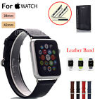 New Genuine Leather Strap Wrist Band + Metal Adaptor For Apple Watch 38mm 42mm