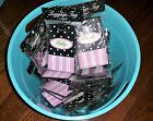 Monogrammed Luggage Tags Female Names Black w/ White Polka Dots Pink Stripes