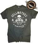 Biker T-Shirt Rocker Skull Old School Rockabilly Chopper Rock n Roll Hotrod Grau