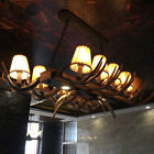 Rustic Faux Resin Antler Parchment Bell Shade 12-Light Linear Chandelier Ceiling