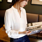 Fashion Women's Ladies Long Sleeve Loose Blouse Summer V Neck Casual Shirt Tops