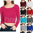 Plain Mini Stretch Casual T-Shirt Crop Top   Womens Size