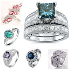 925 Silver Ring Women Blue Sapphire Topaz Amethyst Wedding Engagement Size 6-10