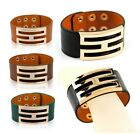 Men Women Genuine Leather Snap Bracelet Wide Bangle Designer Cuff Wristband H/K1