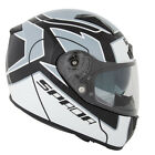 Spada Arc Puzzle White/Grey Motorcycle Helmet with Integral Sun Visor