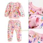 NEW Toddler Kids Girls Cartoon Print Long Sleeve Tops Pants Clothes Outfit Set