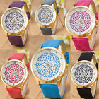 1 Piece New Sale Women's Gold Plated Imitation Leather Jewelry Wristwatch