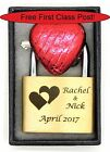 Personalised Engraved 40mm Padlock, BOLD ENGRAVING with Two Heart, Box & Choc