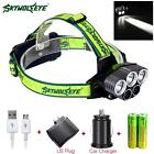 40000LM 5X XM-L T6 LED Rechargeable USB Headlamp + 18650 Battery + AC Charger RP