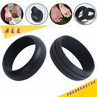 Unisex Black Silicone Wedding Ring Flexible Rubber Hypoallergenic Band Men Women
