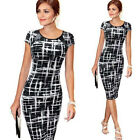 UK Womens Bodycon Short Sleeve Dress Ladies Party Evening Mini Dress Size 6 - 18