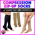 Zipper Compression Socks Open Toe Leg Support Knee High Stocking