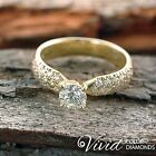 Engagement Ring Size 5.5 Pave Diamond 1.09 CT SI/F-G 14k Yellow Gold Enhanced