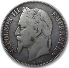 FRENCH COIN, 1869 BB, STRASBOURG MINT, 5 FRANCS SILVER, NAPOLEON III, GRADE XF