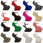 WOMENS LADIES HIGH HEEL LESS CUT OUT PLATFORM HALLOWEEN COSTUME PARTY SHOES SIZE