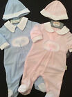 NURSERY COLLECTION  BABY GIRL BOY SLEEPSUIT & HAT PINK OR  BLUE NB 0/3M