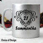 21st Birthday Silver Coffee Mug - Swirl - Add a Name & Message