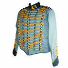 """Steampunk"" Military Jacket by SDL in blue + navy trim & gold braid decoration"