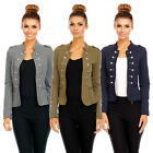 6069 DAMEN JACKE BLAZER ADMIRAL UNIFORM BLOGGER MILITARY KNÖPFE MANTEL S M L XL