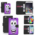faux leather wallet case for many Mobile phones - purple smiley caricature