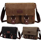 "Men's Vintage Canvas School Satchel Shoulder Messenger Bag 11"" Laptop Bag Small"