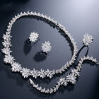 Gold Plated Earrings rings necklace bracelets Cubic Zirconia Flower Jewelry Set