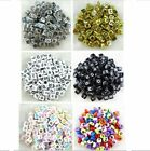 100pcs 6mm Acrylic Mixed Alphabet Letter Coin Square/Round Flat Spacer Beads HA