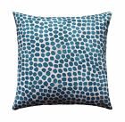 Teal and Sand Polka Dot Geometric Pillow, Puff Dotty Peacock Decorative Pillow