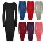 WOMENS LADIES LONG SLEEVE PLAIN JERSEY STRETCH BODYCON MIDI MAXI LENGTH DRESS