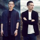 Men Linen Navy Black Fold Long Sleeves Kimono Mandarin Cardigan Jacket Sweater
