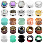 Pair Ear Flesh Tunnel Plugs Saddle Ear Gauges Body Piercing Double Flared gauge