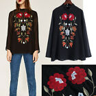 Vintage Floral Embroidery Blouse Stand Collar Pullover Perspective Shirt Tops