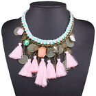 2017 New Fashion Vintage Multi-color Tassel Statement Bib Choker Mecklace
