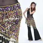 New Belly Dance Costume Crocheted Hip Scarf Sequins & Golden Coins Belt