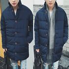 Men Hit Soft Navy Blue Quilted Padded Puffer Down Overcoat Outerwear Jacket Coat