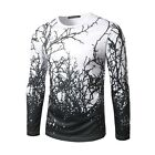 MEN'S Black Branches 3D Printing Long Sleeve Casual T-Shirt
