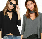 2017 New Sexy Women Lady Long Sleeve V Neck Casual Loose Tops Blouse T-shit Tops