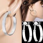 #C100 Non Pierced CLIP ON Flat 6mm Wide Band 4cm or 5cm Round Hoop EARRINGS new