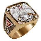 Masonic Scottish Rite 32 degree Ring 18K Yellow Gold Plated Freemasonry
