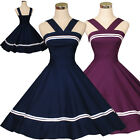 Vintage Casual 50s 60s Swing Retro Rockabilly Dress Pinup Party Dresses Navyblue