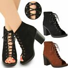 New Womens Ladies Low Wedge Heel Sandals Lace Up Ankle Strappy Party Shoes Size