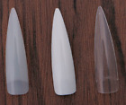 Extra Long Stiletto Nail Tips Natural Clear White - practice display *UK SELLER*