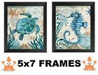 💗 Nautical Pictures 5x7 Blue Ocean Turtle Seahorse Wall Hangings Tropical Beach