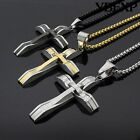"""24"""" Men's Black Silver Gold Stainless Steel Jesus Cross Pendant Chain Necklace image"""