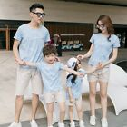 New SUMMER Family Outfits blue short sleeve T shirt + cotton Shorts Pants Sets