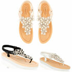 Womens Ladies Diamante Floral Flat Summer Sandals Sling Back Comfort Shoes Size