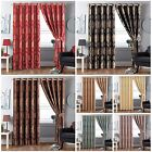Ring Top 100% Jacquard Pair of Curtains Fully Lined Ready Made Free Tiebacks